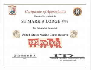 Toys for Tots 2013 Acknowledgement